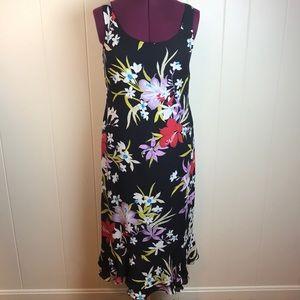 Rena Rowan Black & Mutlicolor Silk Sheath Dress